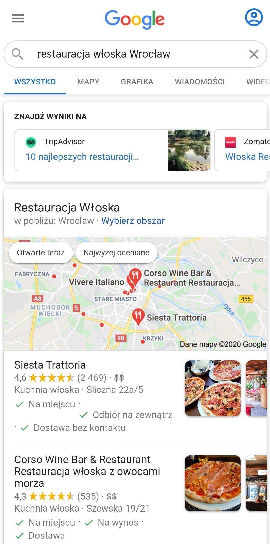 Wyszukiwarka Google na urządzeniu mobilnym