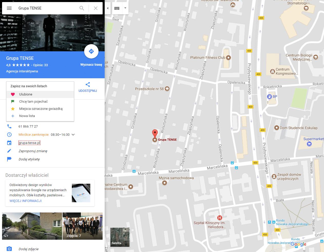 zapisz cel w Google Maps